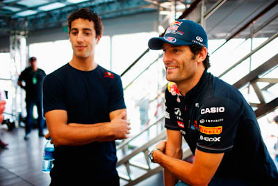 Daniel Ricciardo, Mark Webber, Red Bull Racing, GP Europa 2011. Fórmula 1. Jueves