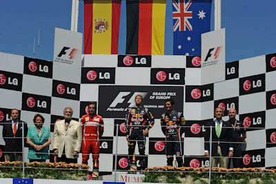 Podium, GP Europa 2011. Fórmula 1. Domingo, carrera