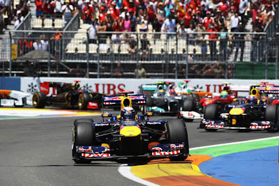 Sebastian Vettel, Red Bull RAcing, GP Europa 2011. Fórmula 1. Domingo, carrera, Salida.