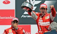 Fernando Alonso, Felipe Masa, GP Gran Bretaña, 2010. Formula 1. Podium