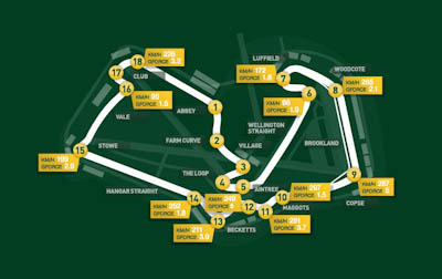 Mapa Circuito de Silverstone, GP Gran Bretaña, 2011. Formula 1. GP09