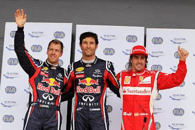 Webber, Vettel, Alonso, GP Gran Bretaña, 2011. Formula 1. GP09. Clasificacion.